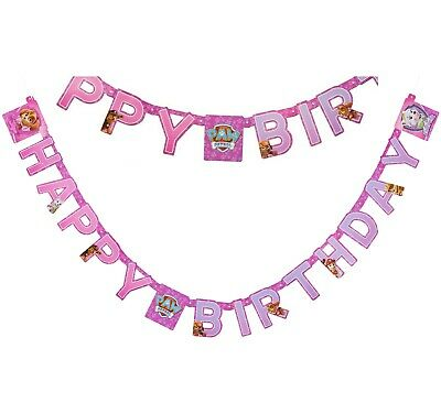 Pink Paw Patrol Girl Happy Birthday Banner ~ Hanging Decoration Party Supplies - Paw Patrol Decorations