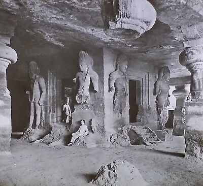 Bombay Harbor (1907, Elephanta Caves, Bombay Harbor Island, India, Magic Lantern Glass Slide)