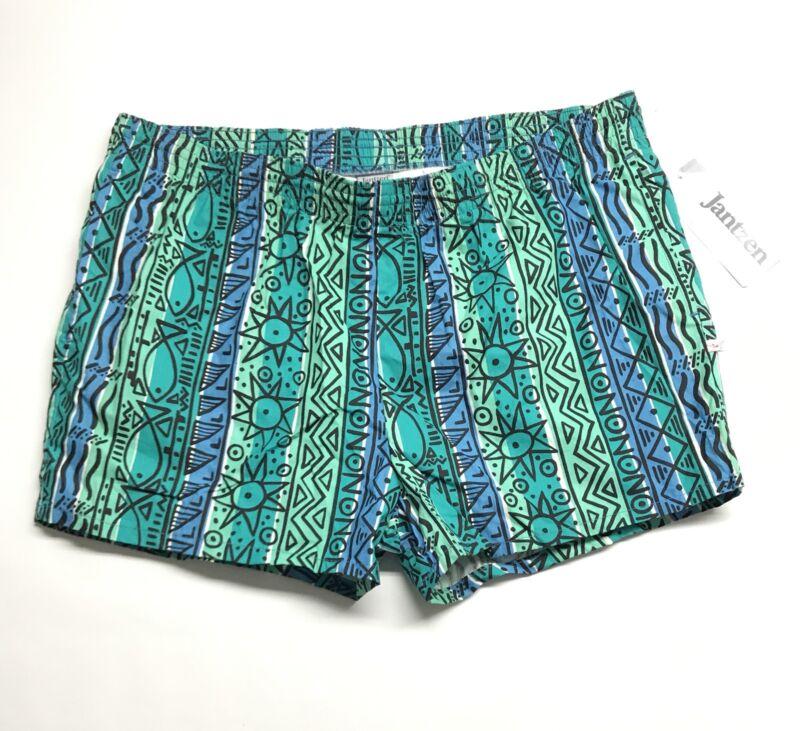 Vintage Jantzen Swim Trunks Men Size XL Made In USA Shorts Retro Multicolor