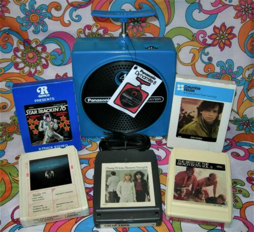 BLUE PANASONIC TNT 8 TRACK PLAYER RQ-830S W/5 TAPES SERVICED WATCH VIDEO