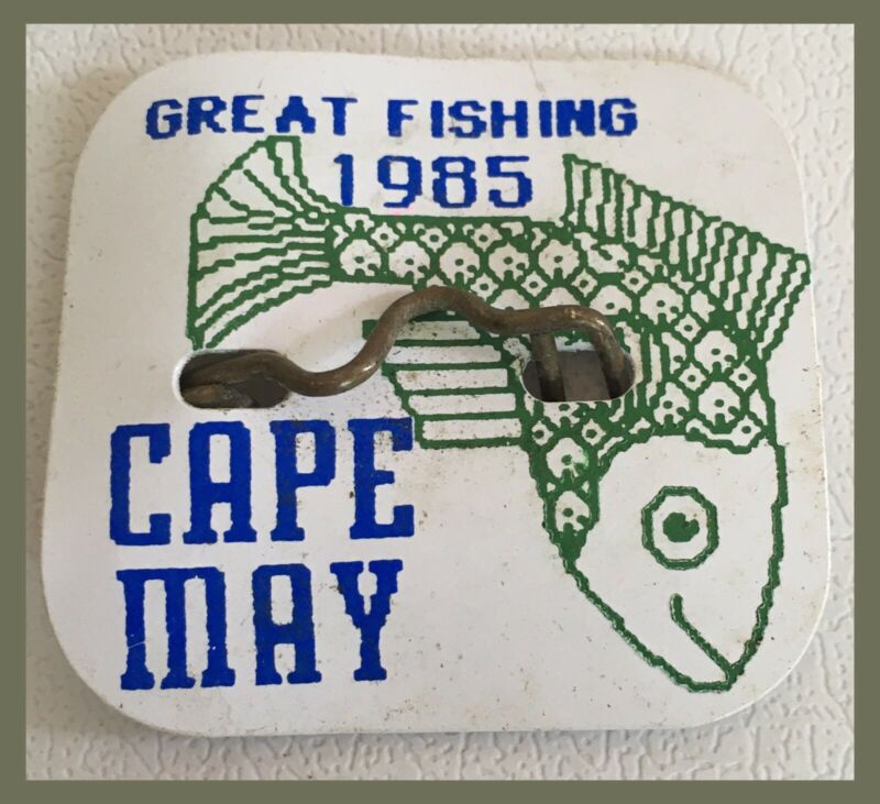 Vintage Cape May New Jersey 1985 BEACH TAG - Great Fishing Design   (P426)