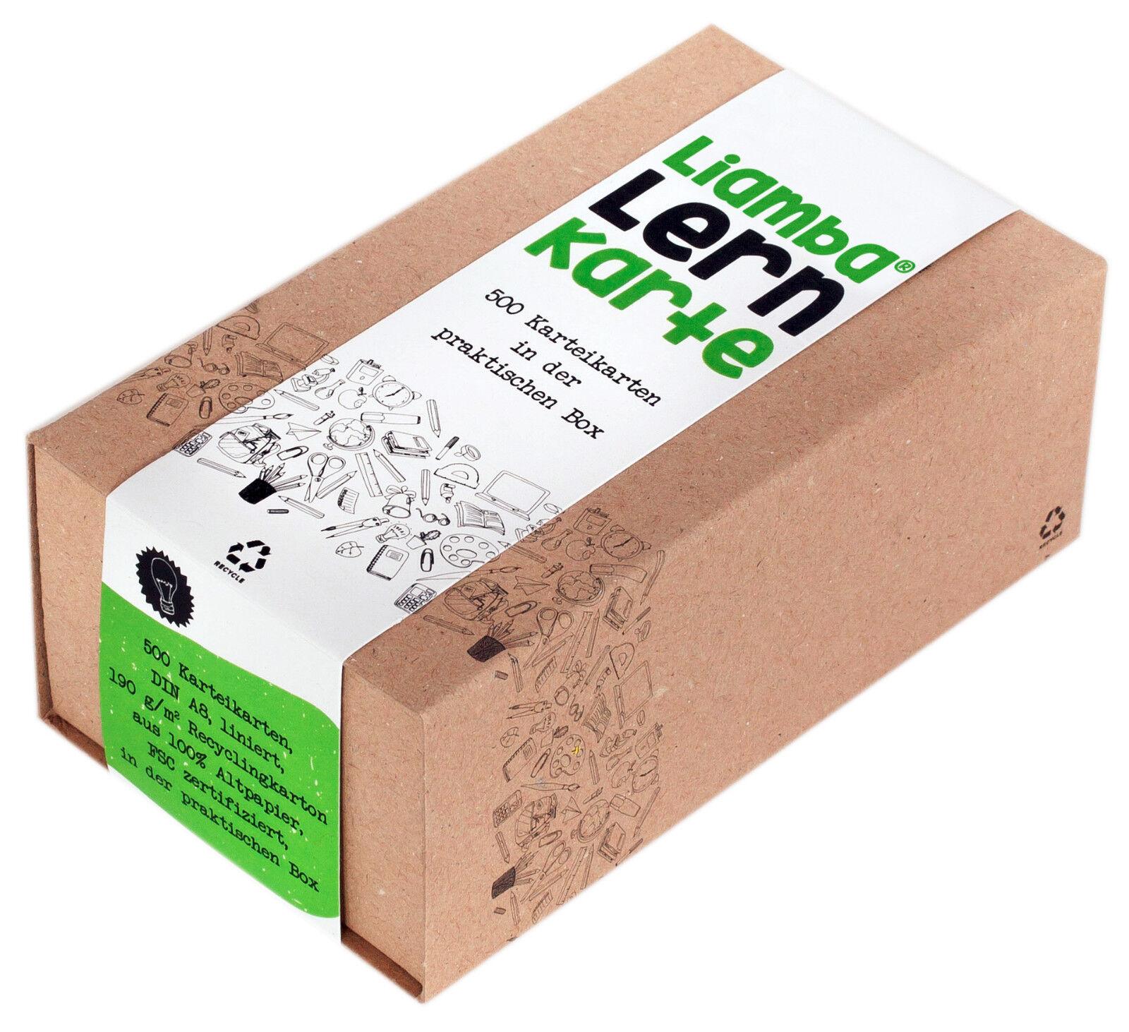 Liamba Lernkarte | 500 Karteikarten in der praktischen Lernbox | DIN A8 Format