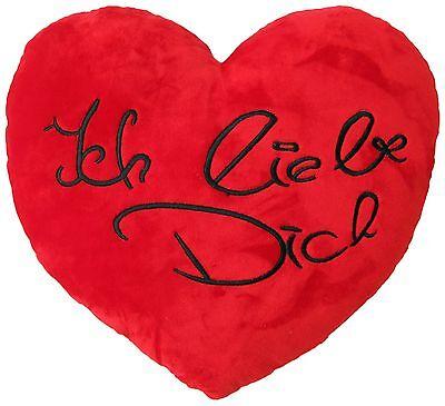 Plüschherz Ich liebe dich Schriftzug Herzkissen Plüsch-Kissen rot 35cm Herz-Form
