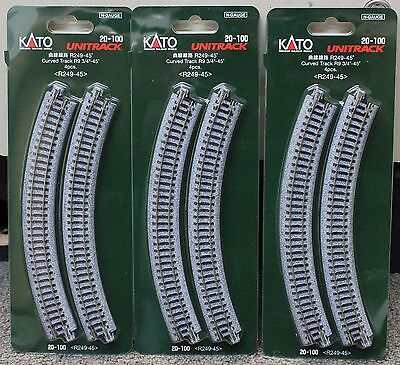 Scale Kato Unitrack Track Curved - LOT of 3 - N Scale KATO UNITRACK 20-100 Curved Track R249-45* 4 Pieces per Pack