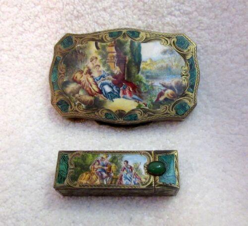 Antique Austrian Silver Enamel Compact Lipstick Set Hand Painted Tableau Superb!