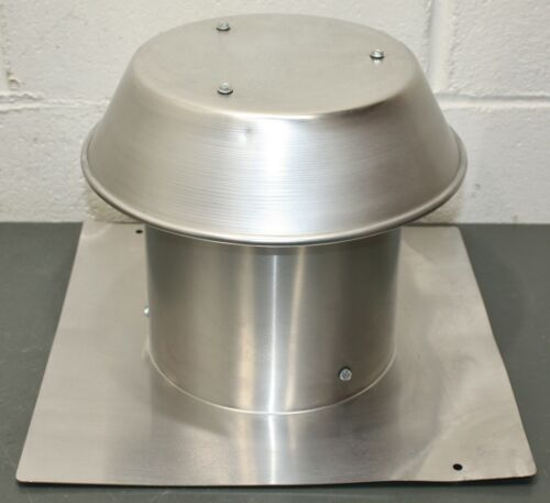"""Broan Aluminum Flat Roof Cap 611, for 8"""" Round Duct, 15"""" x 15"""" Flange, 9-7/8"""" H"""