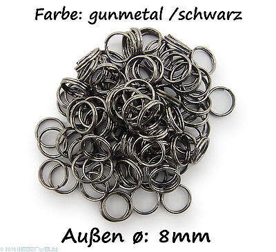 Schlüsselringe / split Rings 8mm Durchmesser Farbe Schwarz 15g ca.100 Stk