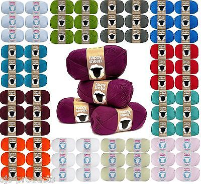 Happy Sheep Double Knit DK 100% Acrylic Hand Knitting Wool Yarn Ball 100g 280m