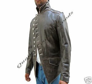 Genuine-Handmade-Mens-Military-Style-Antique-Brown-Leather-Steampunk-Jacket