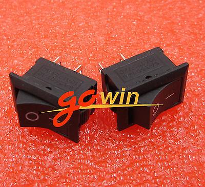 5pcs Black Rocker Switch KCD1-101 250V 6A Boatlike Switch 2PIN 15X21MM new