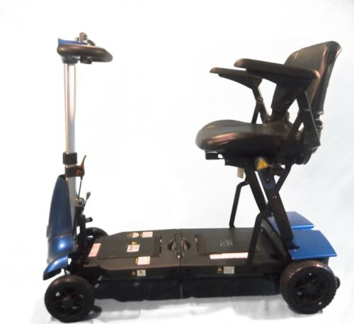 Mobie Plus Compact Folding Blue Travel Scooter Light Weight Cart