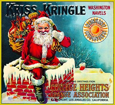 Claremont Kriss Kringle Santa Claus Christmas Orange Fruit Crate Label Art Print