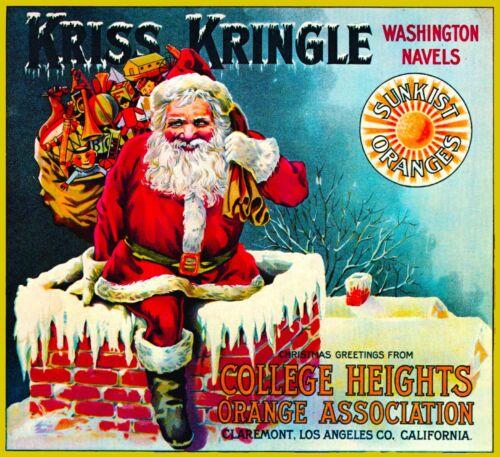 Claremont Kriss Kringle Santa Claus Christmas Orange Fruit Crate Label Art Print