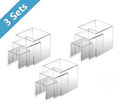 9pc Clear Acrylic Display Risers Funko Pop Stands Cases Book Showcase Lot