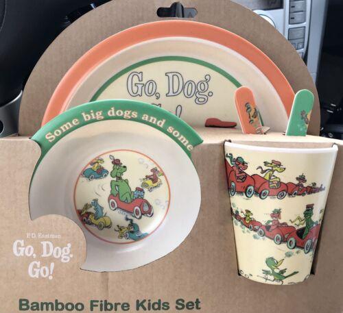 NEW P. D. Eastman Go Dog Go 5 Piece Bamboo Fibre Dinnerware Set, Dr Seuss - $14.00
