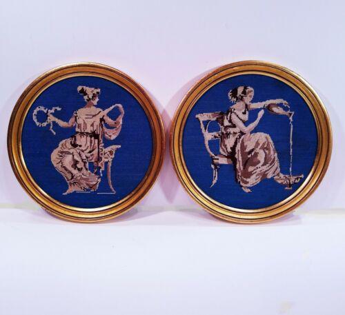Vintage French petit point plaques.  Greek goddesses. Cobalt blue & tan/gold.