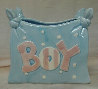 Vintage Lefton Blue Baby Boy Dipper Planter