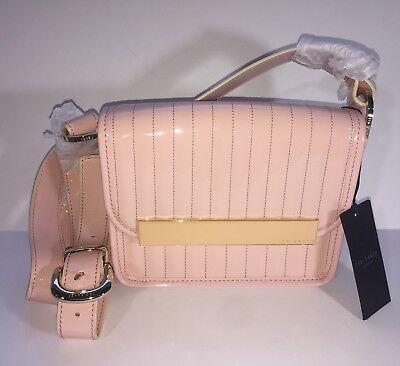 (NWT Ted Baker Enamel Crossbody Light Pale Pink Flap Front Purse Bag X-body)