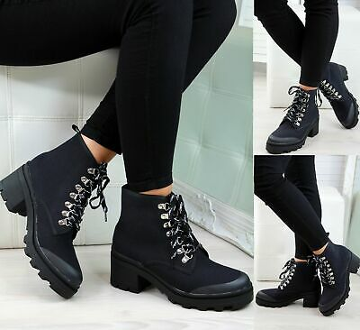LADIES WOMENS ANKLE CHELSEA CANVAS BLOCK CHUNKY MID HEEL CASUAL SHOES BOOTS SIZE