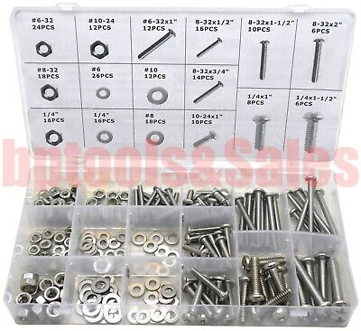 224pc Stainless Steel Bolt Nut Washer Assortment Set Round Flat Assorted Kit