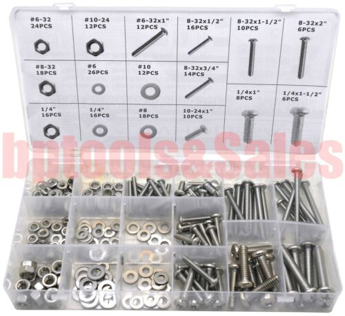224pc Stainless Steel Bolt / Nut / Washer Assortment Set Round Flat Assorted Kit