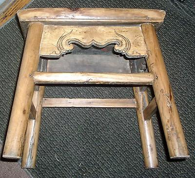 Antique Chinese Light Elm Wood Carved Stool Table Bench 19th century