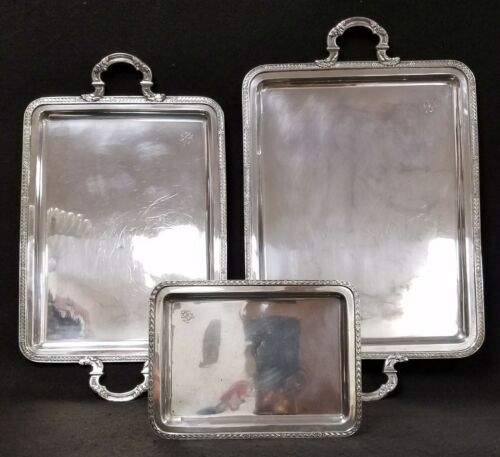 Set of 3 Sterling Silver Serving Trays Hallmarked Made in SPAIN 50.71 troy ounce