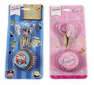 48pc Pirate and Princess Cupcake Set Cases Toppers Birthday Party Decoration - Princess And Pirate Decorations