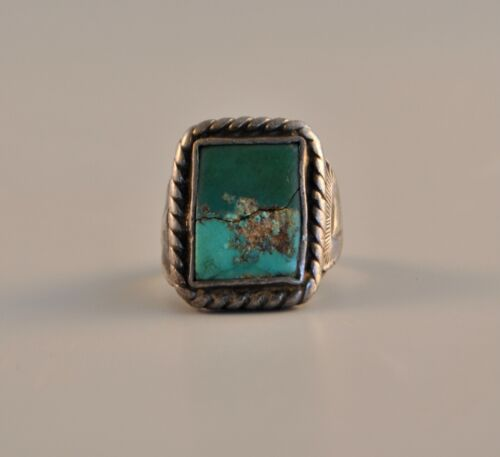 OLD NATIVE INDIAN NAVAJO RING - TURQUOISE  STERLING SILVER MENS WMS - RECTANGLE