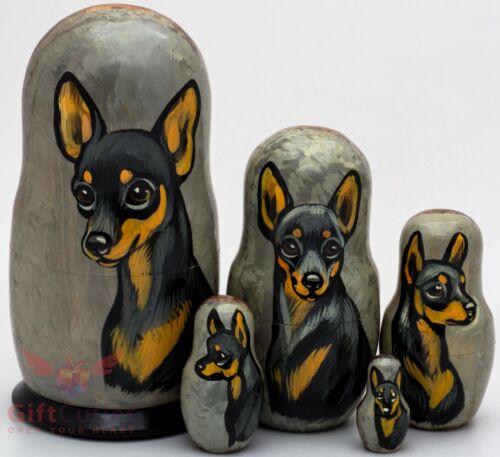 Russian Matryoshka English Manchester Toy Terrier Dog Wood nesting doll toy 5pcs