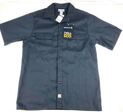 New Carhartt Men's Twill Work Wear Shirt Black Button Front S223 Sz Large Carhartt Twill Shirt