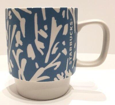 (STARBUCKS Light Blue Floral Stacking 12 oz Coffee Mug - Cool Design NEW!)