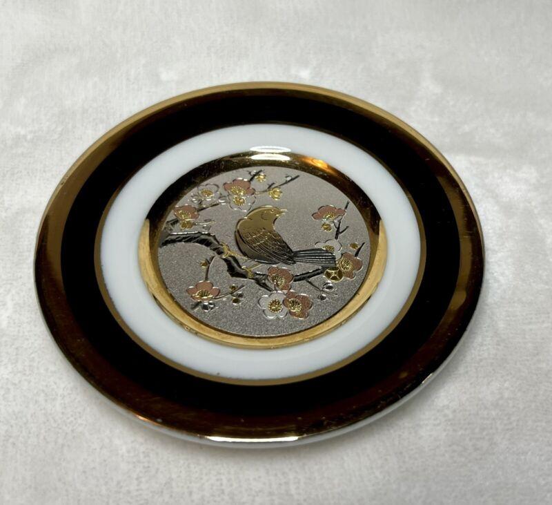 "The Art of Chokin 24k Gold Edged Plate Bird in Tree 4"""