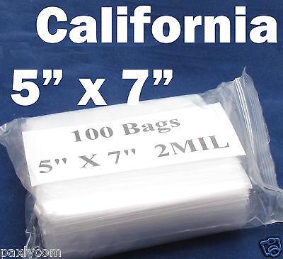 100 X Zipper 5  X 7  Zip Lock Clear Poly Plastic Bag 2Mil Ziplock 125 X 175 Mm