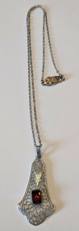 Antique Art Deco Rhodium Filigree Amber Glass Pendant Necklace