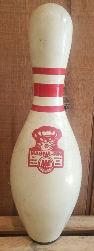 Vtg Magna-Pin Bowling Pin ABC Approved Synthetic Red Logo/Stripe