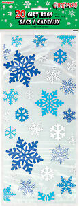 20-x-Christmas-Snowflakes-Cello-treat-loot-Party-Bags-favour-bags-Blue