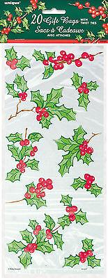 20x Agrifoglio Trasparente Violoncello Sacchetti Natale di Confetti Festa Dolci