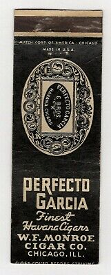 Perfecto Garcia Finest Havana Cigars Monroe Cigar Vintage Matchbook Cover B36