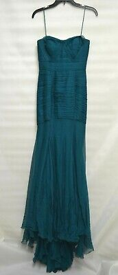 BCBG Max Azria ATELIER Gown DARK TEAL SILK Train Maxi RED CARPET DRESS Strapless for sale  Shipping to India