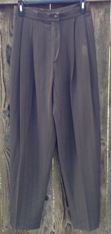 "Krizia Italy Vtg 90s High Waist Brown Pinstripe Pants IT Sz 42 100% WOOL 27""W"
