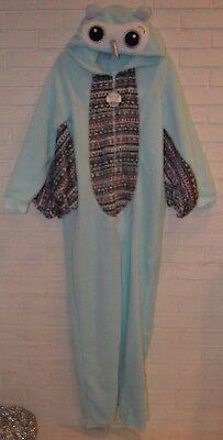 Women's Night Whoot Owl Blue One Piece Pajama Lounge Sleep Suit Sizes S, M, XL