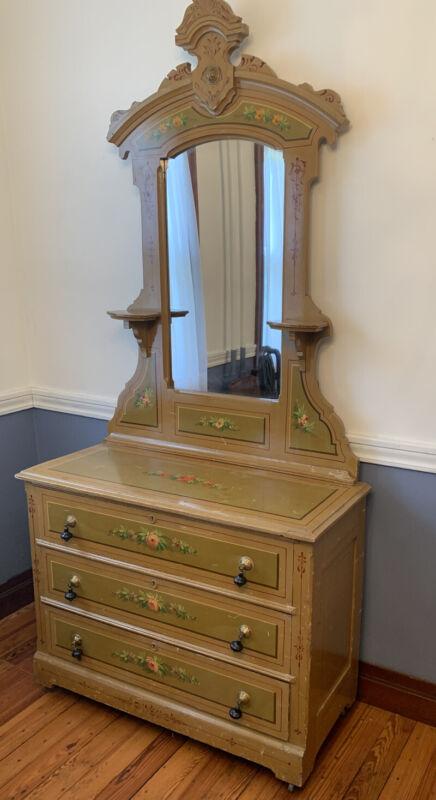 Antique 1900s Victorian Cottage Dresser Painted Floral Mirror Candle Shelf