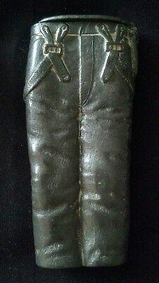 RARE SIGNED PAT. 1886 PAIR OF PANTS JEANS LEVIS? FIGURAL PEWTER MATCH SAFE VESTA