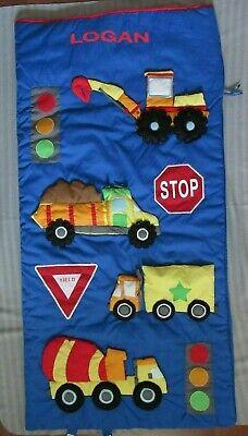 CHILD SLEEPING BAG 3 D trucks & traffic - personalized LOGAN - NEW - Personalized Kids Sleeping Bags