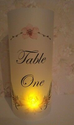 Wedding Table Numbers, Light Up Vellum Cylinders COMPLETE with LED Tealight - Light Up Table Centerpieces