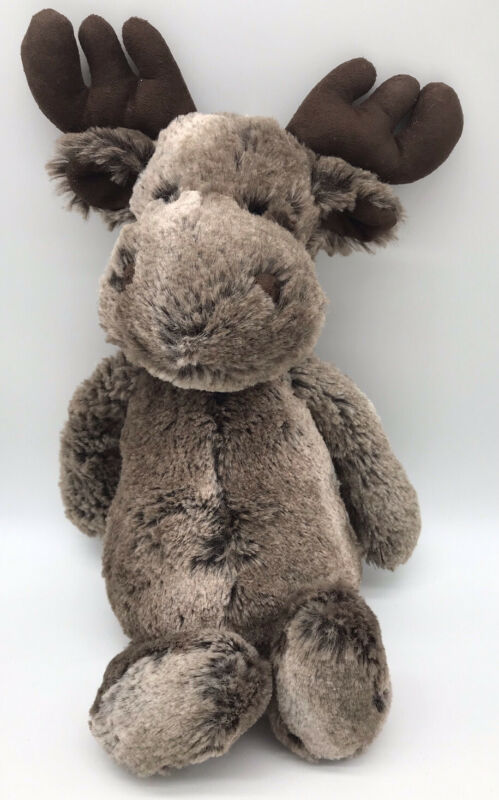 "Jellycat Marty Moose Lovey 12"" Brown Antlers Stuffed Plush Very Soft Floppy G2"
