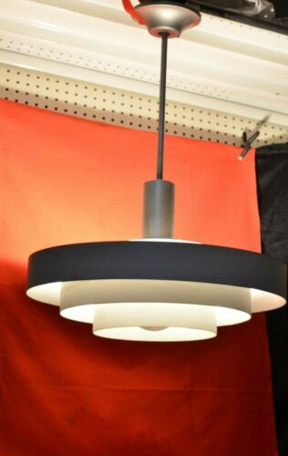 "Vtg 19"" Atomic Saucer Rings Ceiling Light Fixture Retro Mid Century Industrial"