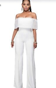Off shoulder lace overall jumpsuit —fits medium to large