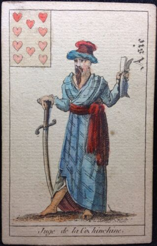 Early 19th Century Rare Asian Judge With Sword Historic Antique Playing Card